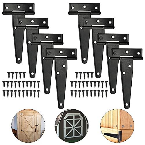 MONSIVILIA 8 Stück T Scharnier Torscharnier Türscharniere aus Eisen T-Riemenscharnier Set mit 50 Stück Schrauben Türscharniere mit Hochleistung Torband Scharniere für Türen, Holzzäunen, Garten