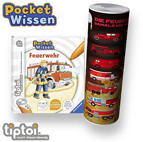 Collectix Ravensburger  tiptoi Buch 4-7 Jahre | Pocket Wissen - Feuerwehr + Kinder Feuerwehr Fahrzeuge Poster | Pocketwissen, Tip TOI, unterwegs, Klein