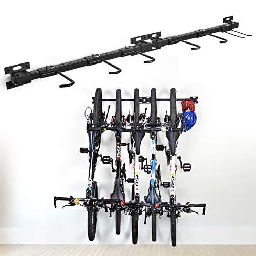 Fahrradaufbewahrung Fahrradständer für die Wandmontage Fahrradhalterung Fahrradständer für 5 Fahrräder verstellbares Trägersystem für Haus und Garage