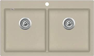 Cuve de Cuisine Lavabo de Cuisine Beige 800 x 500 x 306 mm Festnight /Évier de Cuisine 2 bacs en Granit