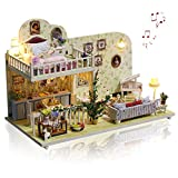 GuDoQi Kit de Maison de Poupée Miniature Bricolage avec Musique, Maison d'Amsterdam à la Main avec des Meubles, Kits de Modèles Artisanaux pour Adultes et Collectionneurs à Construire