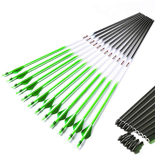 Linkboy Archery Spine 300 340 400 500 600 Carbon Arrows Shaft 2' Vanes Green Recurve Compound Bow Longbow Hunting Shooting 12PCS (Spine 340 30inch)