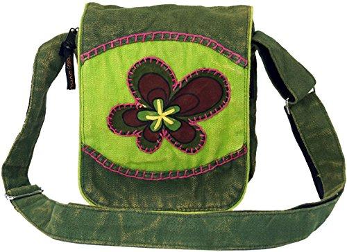 GURU SHOP Kleine Schultertasche, Hippie Tasche, Goa Tasche - Grün, Herren/Damen, Baumwolle, Size:One Size, 18x16x4 cm, Alternative Umhängetasche, Handtasche aus Stoff