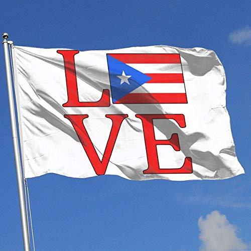 Xhayo Drapeaux Love Puerto Rico Flag-1 Banner Flag Decor Flag Outdoor Garden Flag 3'X5' House Banner