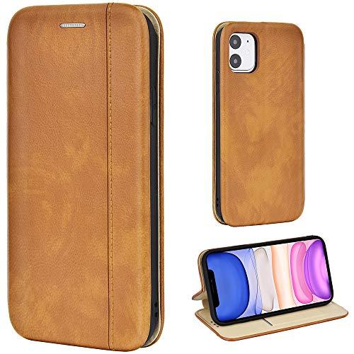 Leaum Leder Handyhülle für iPhone 11 Hülle, Premium Handytasche Flip Schutzhülle für Apple iPhone 11 Tasche (Braun)