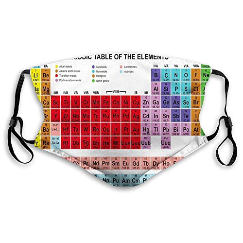 Windproof Activated Carbon mask,Periodic Table,Kids Children Educational Science Chemistry for School Students Teachers Art,White Red,Facial Decorations for Adults M