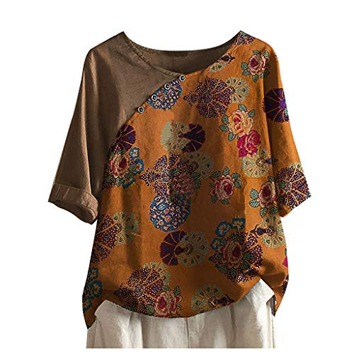 Cotton Shirts for Women 3/4 Sleeve Loose Fit Vintage Flower Prined Linen Tunic Tops Crewneck Blouse Shirts Plus Size.S-5XL Khaki