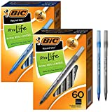 BIC Ballpoint Pen Set: Medium Point (1.0mm), BLUE (60 ct) & BLACK (60 ct) - Bundle