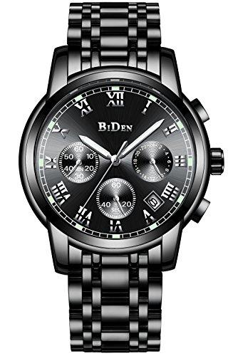 Herren Uhren Männer Chronograph Wasserdicht Datum Kalender Armbanduhr Analog Quarz Uhren Männlich Multifunktio Geschäft Lässig Edelstahl Uhr