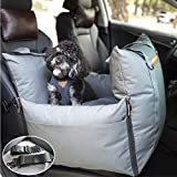 QUEENS NOSE Premium Dog Car Seat - Pet Car Seat with Front & Back Safety Protectors - Dog Booster Seat for Small and Medium Dogs up to 30 lbs - 2 Harness Leashes, Seat Belts, Seat Covers, Water Proof