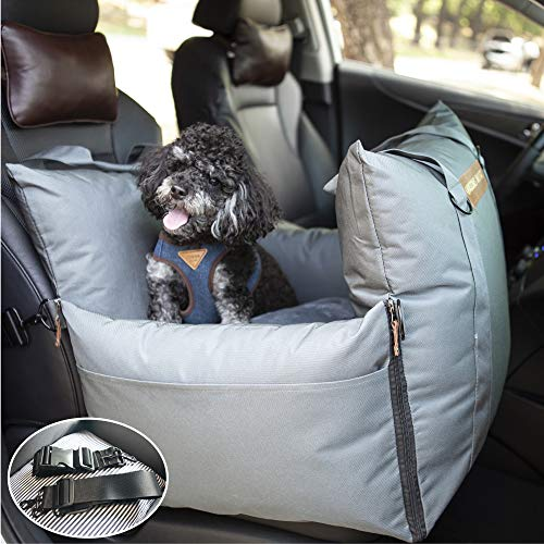 QUEENS NOSE Durable Dog Car Seat with Front & Back Protection - Dog Booster Seat with 2 Adjustable Dog Leashes for Dog Harness with Belts - Dog Bed Pet Car Seat with Carrier Handles for Small & Medium