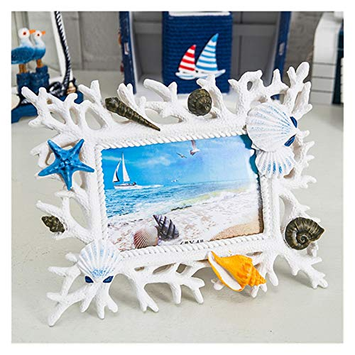Agnes Bruce Photo Frames Coral Shell Photo Frame 6 Inch Resin Creative Wedding Photo Frame Decoration Ocean Romance Mediterranean Style Home Crafts Gift (Color : White)
