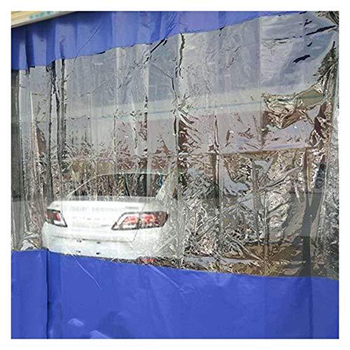 YJFENG Parabrisas De PVC De 0,5 Mm, Panel Lateral De Carpa De Cenador Resistente, Lona Transparente con Costura De Lona Revestida De Azul, 100% Impermeable, para Acampar