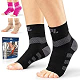 Powerlix Nano Socks for Neuropathy (Pair) for Women & Men, Ankle Brace Support, Plantar Fasciitis Socks, Toeless Compression Socks & Foot Sleeve for Arch & Heel Pain Relief - Treatment & Everyday Use