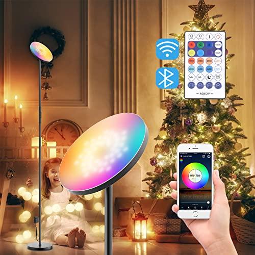 TELAM Lámpara de pie LED WiFi 24 W RGBW, Regulable Lámparacon Mando a Distancia de Pie Gris para Salon/Dormitorios Modernas Nordicas, Compatible con Alexa Google Home Ideal para Fiestas