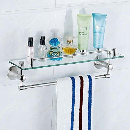 Tcaijing Toalleros repisa Estante de Cristal baño Toallero de Acero Inoxidable