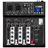 Depusheng HT4 Professional 4 Channel USB Jack Portable Audio Mixer Bluetooth Live Studio Audio DJ Sound Mixing Console