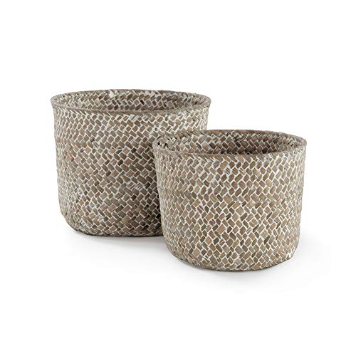 Compactor Set 2 cestas redondas trenzado natural, Tamaño Ø 14 x 11 cm y Ø 16 x 12 cm, RAN6534
