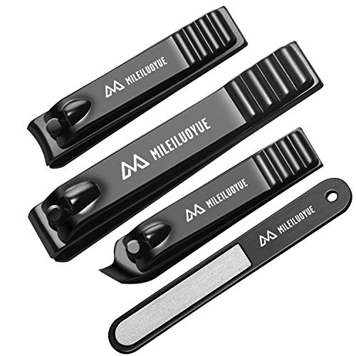 MILEILUOYUE Nail clippers set black stainless steel nail cutter& sharp oblique toe nail clipper & nail file 4 pieces, metal tin box for men and women suitable for gifts.