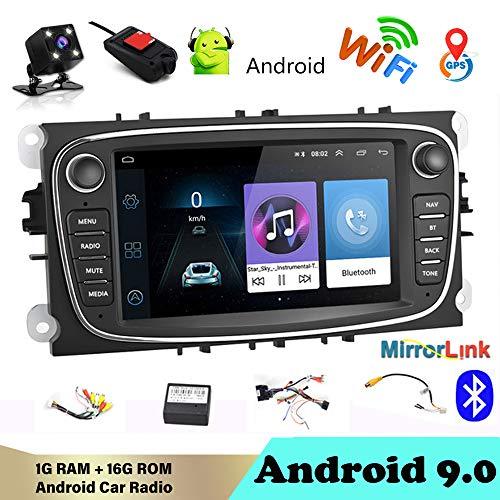 Autoradio Bluetooth 2 DIN 7'Android 9.0 Reproductor Multimedia para de automóvil WiFi Navegación GPS Autoradio para Fo/rd/Focus/S-MAX/Mondeo 9 / GalaxyC-MAX con cámara de visión Trasera y DVR