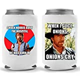 Chuck Norris Beer Coolies | Set of Two (2) Walker Texas Ranger Jokes | Funny Gag Party Gift Beer | Beverage Soda Holder | Craft Beer Gifts | Quality Neoprene Insulated Can Cooler (Chuck Combo)