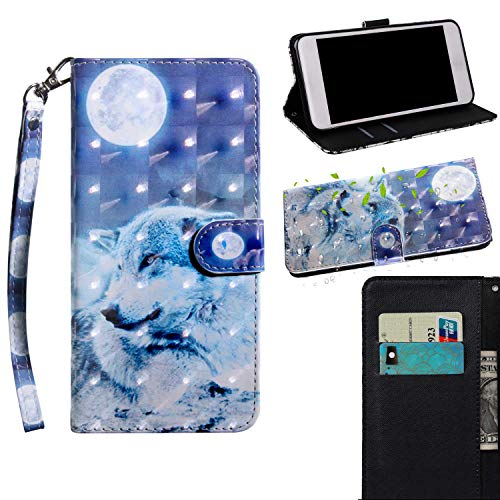 THRION Xiaomi Redmi 4X Hülle, PU 3D Brieftaschenetui mit magnetischer Handschlaufe und Ständerhalterung für Xiaomi Redmi 4X, Wolf#2