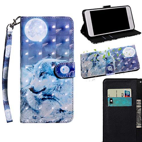 Sony Xperia XA1 Ultra Hülle,THRION PU 3D Brieftaschenetui mit magnetischer Handschlaufe und Ständerhalterung für Sony Xperia XA1 Ultra, Wolf#2