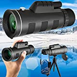 Topmeg 40X60 HD Monocular Telescope Compatible with i-Phone Android, Night Vision Waterproof Telescope Monocular for Adults with Smartphone Holder & Tripod for Bird Wildlife Hunting Camping Travelling