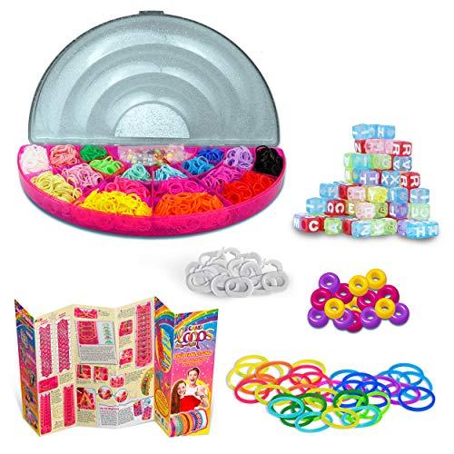 CRAZE Loops MEGA Rainbow 1800+ Box Letter Beads Knüpfringe inkl. Perlen Alu Häkelnadel und viel Zubehör 20845, Bunt
