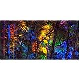 Cartel de la lona del árbol del bosque del color retro mural cartel de la pared de la pintada arte abstracto creativo de la pared sin marco cartel del arte moderno 50x100cm / 19.6 'x39.4' / NoFrame