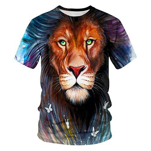 Zaima 3D Lion Digital Printed T-Shirt Fashion Men's Plus Size Casual Short Sleeve