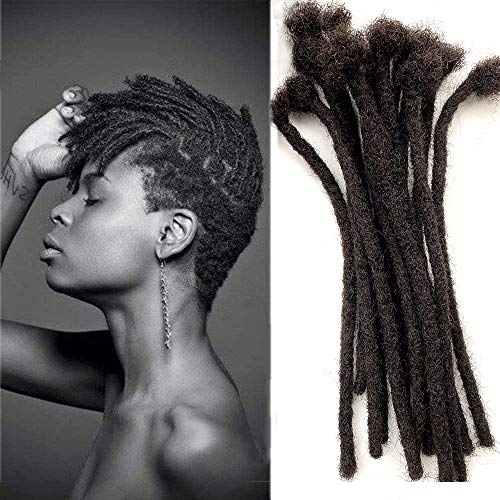 Handmade Dreadlocks Extensions Afro Kinky Curly Human Hair Black Fashion Crochet Braiding Hair For Women And Men 8-12inchs/Diameter 0.6cm