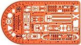 Dimensioni: 150 x 80 mm, spessore: 0,85 mm Realizzato in plastica trasparente arancione. Il tasso di trasparenza permette di vedere il mezzo di disegno sotto il modello per un facile posizionamento. Questo stencil contiene simboli di autobus, tram, a...