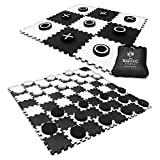 SWOOC Games - 2-in-1 Reversible Giant Checkers & Tic Tac Toe Game ( 4ft x 4ft ) - 100% High Density EVA Foam Mat & Pieces - Extra Large Checkers with Jumbo Checkerboard and Yard Size Tic Tac Toss