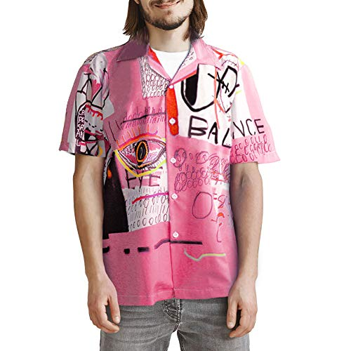 ZAFUL Men' s Casual Short Sleeves Button Up Shirt Letters Painting Graphic Print Beach Shirt