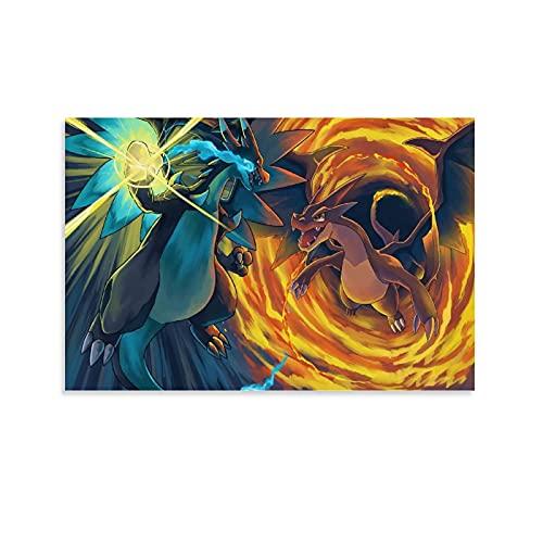 DRAGON VINES Póster de Pokémon Pocket Monsters Mega Charizard X Vs. Mega Charizard Y con impresión colorida y moderna decoración de pared para el hogar, oficina, 20 x 30 cm
