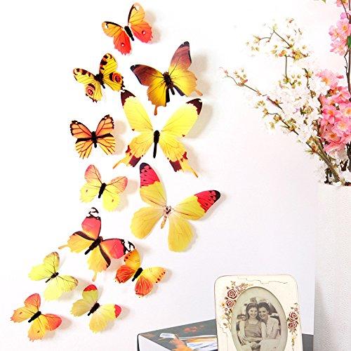 Zegeey Eingestellt DIY Schmetterlings Wandaufkleber Wandtattoo Wanddeko Dekor FüR Fenster Flur KüChe Kinderzimmer Wohnzimmer Babyzimmer Autos Fahrzeuge (A-Gelb)