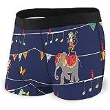 Web--ster Calzoncillos bóxer para Hombre Ropa Interior, alegres Elefantes, cocodrilos, Monos y Mariposas Dibujos Animados Patrón Festivo L