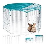 Relaxdays Freilaufgehege, mit Netzabdeckung, Kaninchen, Meerschweinchen, außen, Freilauf, HBT: 92 x 160 x 160 cm, silber, L