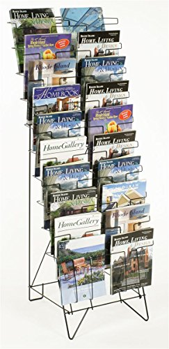"""Tiered Black Wire Magazine Rack, 19-1/4""""w x 25-1/2""""d x 51-1/2""""h, Free Standing Floor Fixture with 20 Stacked Pockets, Sign Slot"""
