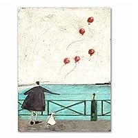 BGGGTD ポスター 幸せな家族抽象愛キャンバス絵画ヴィンテージポスタープリントスカンジナビア北欧の壁アート写真寝室の家-50x70cmx1フレームなし