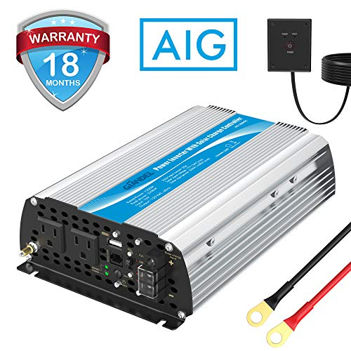 1200W Power Inverter DC12 Volt to AC 120 Volt with 20A Solar Charge Controller and Remote Control & USB Port for RV Truck Solar System