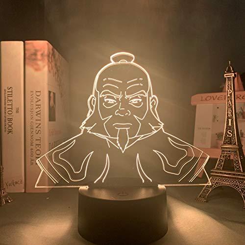 Acryl Led Nachtlicht Avatar Der letzte Airbender für Kinder Kind Schlafzimmer Dekor Nachtlicht Avatar Iroh Figur Schreibtisch 3d Lampe