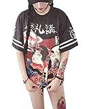 Loralie T-Shirt Ado Fille Style Japonaise Manches Courtes Lache avec Motifs Fashion et Kawaii, Noir,...