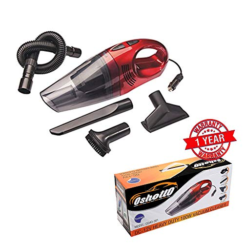 Oshotto(Technology from Taiwan) - 100W Heavy Duty Super Suction Car Vacuum Cleaner- 12V (Colour-Red)