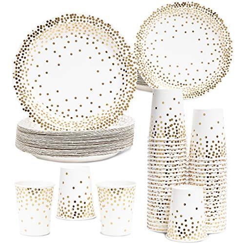 Juvale Gold Foil Dots Party Pack voor 50 gasten - Papieren diner, Voorgerecht Borden, en Bekers