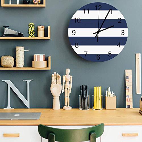 Reloj de pared silencioso estilo mar, relojes de pared de oficina de 10 'que no hacen tictac, decoración de relojes de madera para el hogar, la escuela y el gimnasio, funciona con pilas, rayas horizon