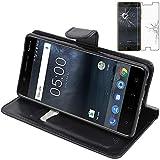 ebestStar - Coque Compatible avec Nokia Nokia 5 Etui PU Cuir Housse Portefeuille Porte-Cartes Support Stand, Noir + Film Protection écran Verre Trempé [Appareil: 149.7 x 72.5 x 8mm, 5.2'']
