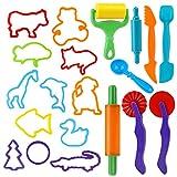 Outils de Pâte À Modeler Play doh Moules Kit pour Argile Pâte à Modeler, 20 pièces Dough Tools D'accessoires de Jouet de Pâte de Kit de Clay pour Enfants Forme animale(Couleur Aléatoire)
