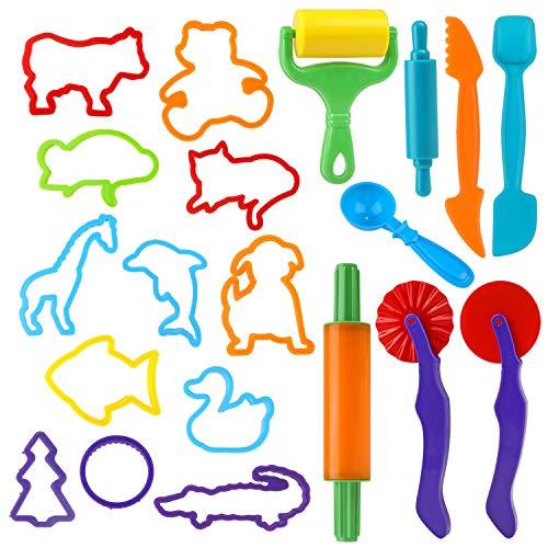 Utensili per Plastilina, 20 Colorati Accessori e Utensili a Forme di Animali Strumenti, Plastica Argilla e Pasta Modelli e Stampi per Argilla Modellabile Bambini Giocattoli(Colore Casuale)